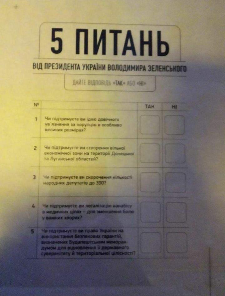 """В сети появились все пять вопросов из """"опросника Зеленского"""""""